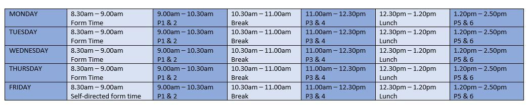 Timetable wc 25.01