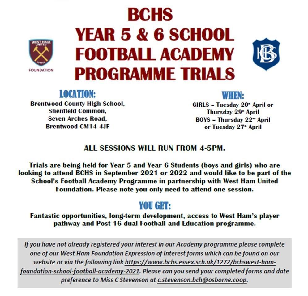 BCHS FOOTBALL ACADEMY TRIALS